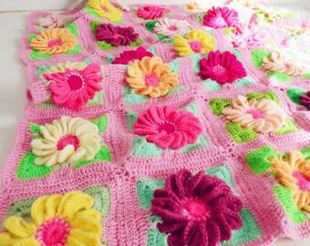 Baby Blanket crochet pattern 3D Flower Gerbera granny square  - granny chic floral blanket - Instant DOWNLOAD