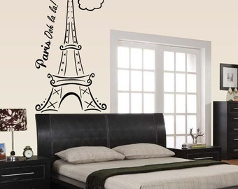 FREE SHIPPING Paris Ooh La La Clouds Tour Eiffel Tower Wall Decal Custom Size and Color