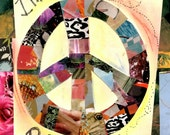Quilters Gifts, Quilting Art,  Peace Sign, Hippie Art, Mixed Media Art  Print, Wall Art PIECEMAKER by Seattle Artist Mary Klump