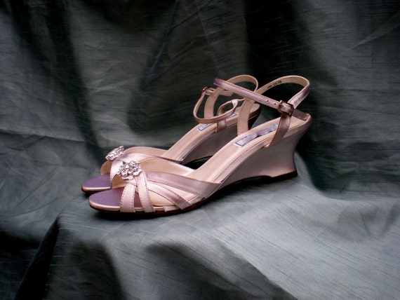Champagne Wedding wedges SALE size 9