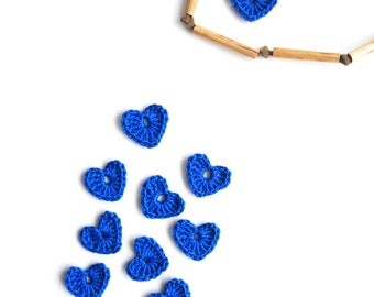 Crochet Heart Applique, Bright Blue , Set of 10, Valentines Day Heart Love Motif