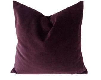 16x16 Burgundy Wine Decorative Pillow Cover- Medium Weight Cotton Velvet - Invisible Zipper Closure- Knife Or Piping Edge