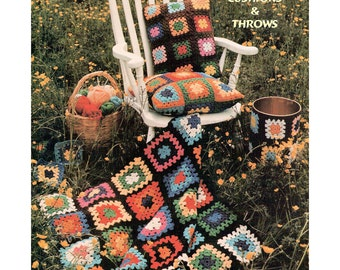 Instant Download PDF Easy Beginners Crochet Pattern to make Granny Squares Afghan Blanket Sofa Throw and Cushion Bin Cover Garden Picnic Rug