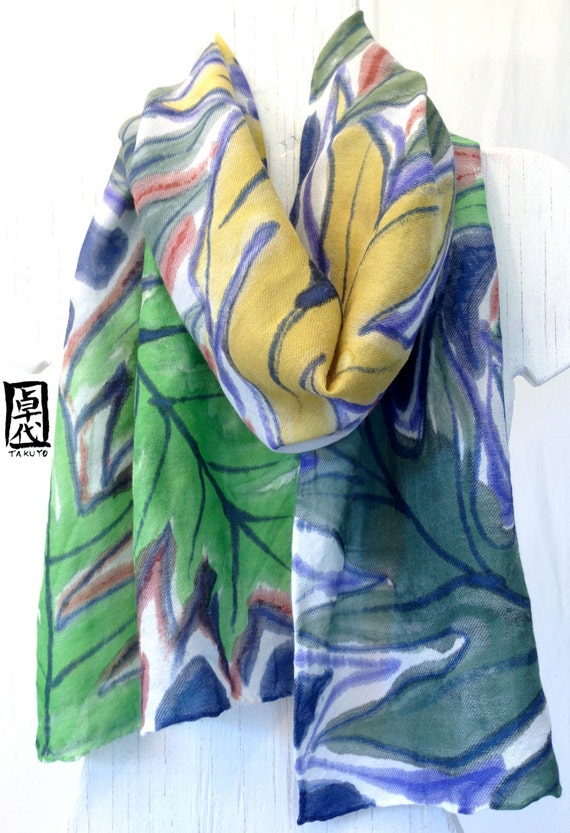 Silk Wool Floral Scarf Hand Painted, Hawaiian Ferns Geen Silk Wool Scarf. Large Silk Scarf. Approx 14x72 inches.