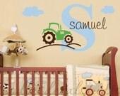 Tractor wall decal - boys nursery decals - kids playroom stickers - farm nursery decals - Kids Name Wall Vinyl Decals