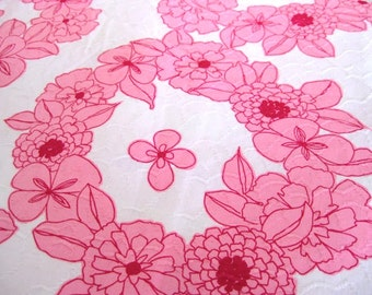 """Vintage Fabric - Hot Pink Hawaiian Flowers - By the Yard x 44""""W - Retro - Sewing Material - Craft Supply - Yardage"""