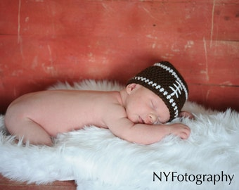 Football Baby Hat, Newborn Baby Hat, Crochet Baby Beanie, Football Beanie, Crochet Baby Hat