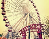 Navy Pier Ferris Wheel in Vintage Red