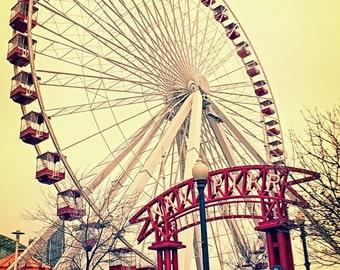 Chicago Photography, Navy Pier Ferris Wheel Wall Art, Vintage Red Urban Art Photography Print