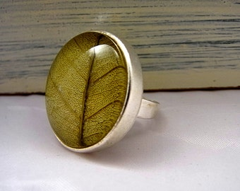 Real leaf ring - statement ring, silver color with real dried leaf.