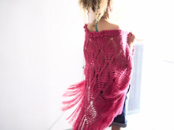 Crochet shawl boho fashion fringe wrap in raspberry, Roxanne, vegan friendly