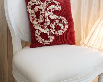 Home Decor Dark Red Wide Ribbed Bed Couch Throw Pillow with Cream Red Shabby Ruffle 1306