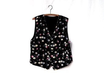 Vintage floral vest reversible black white check plaid weskit styling sleeveless top mums daisies womens floral vest