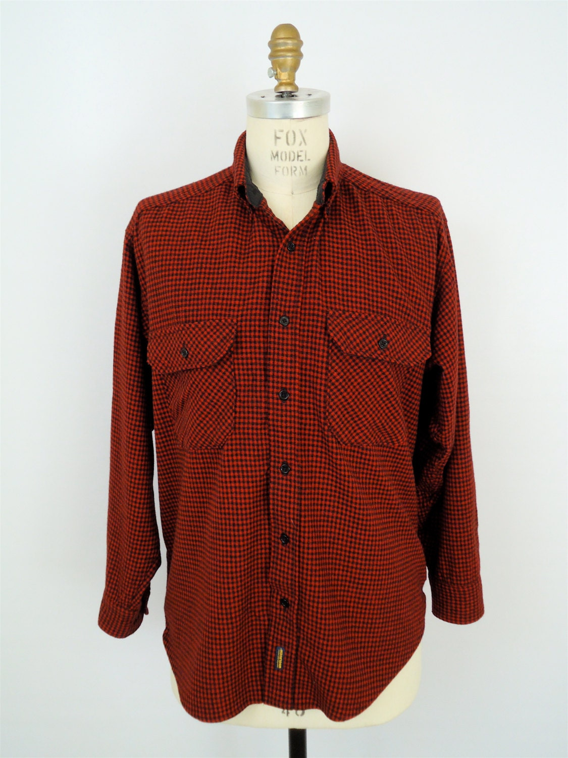 Woolrich red check flannel red black plaid shirt buffalo for Red buffalo flannel shirt