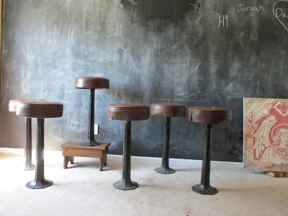 Reserved For K Set Of 6 Cast Iron Bar Stools By