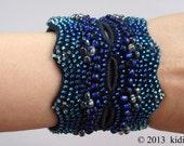 Cuff bracelet, Czech glass beads, hand crochet jewelry, womens accessories, crocheted beaded jewelry, beaded bracelet