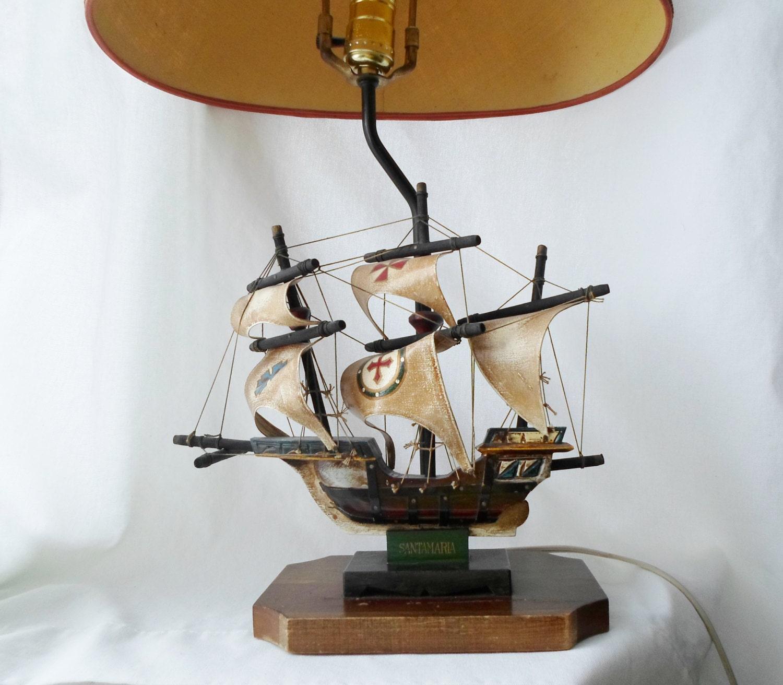 Vintage Wooden Santa Maria Ship Lamp Table Lamp Boat