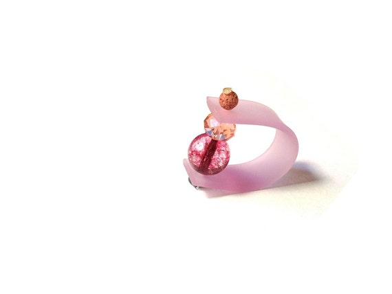CANDYS - multicolor spring rings with rubber (PVC) , precious and semiprecious beads. Made to order