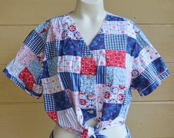 Vintage Bandana Crop Top Bandana Shirt Patchwork Quilt Shirt 80s Gitano Bandana Crop Top