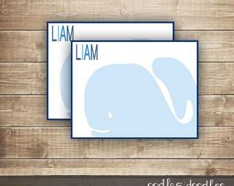 Whale Note Card / Personalized Stationary / Children's Stationery for Boys / Nautical Thank You Note Card - Printable