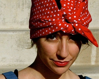 Handmade WWII 1940s Rosie the Riveter Historical Theater Halloween Costume Prop Rockabilly Headscarf Red Polka Dot We She Can Do It