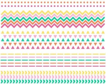 CLIP ART: Scrapbook Borders // Chevron Triangles Dots Dashes Arrows // Arrow Pattern // Native American // Pink Green Yellow Orange