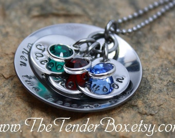 Personalized Mothers Necklace hand stamped necklace  Gift Swarovski birthstones US customers Mother's day