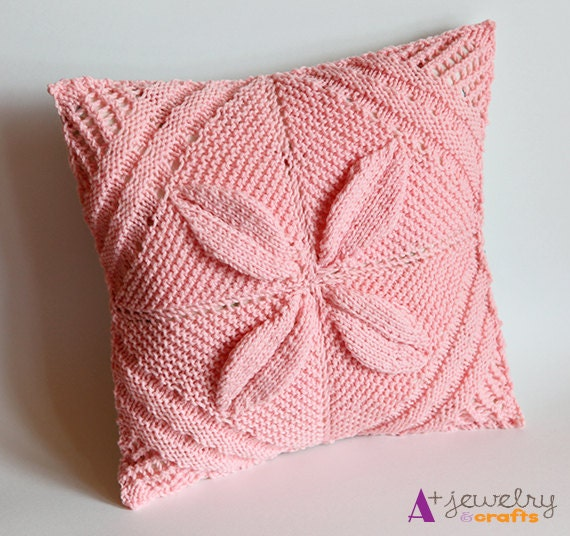Knit Pillow Cover Pattern : Pillow cover pink knit vintage pattern and by APlusJewelryCrafts