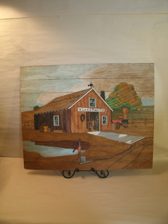 Original Painting Blacksmith Barn Farm Tractor Applied Wood Craft Art