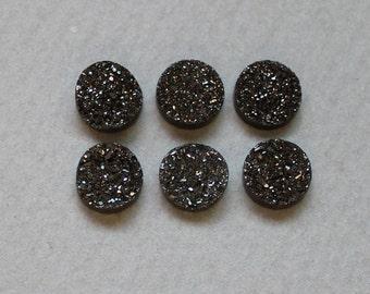The side Polished Natural Agate Quartz Black Color Titanium Sparkling Druzy Cabochon 8mm