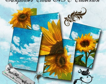 Sunflower Clouds Printable ATC - Clip Art - Collage Sheet - Ready to Print - Digital Ephemera - For Scrapbook Tag and Journal  Paper Crafts
