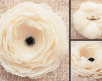 Bridal Accessories. Ivory Brooch. Fabric Flower. Fabric Brooch. Wedding Accessories.