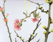Flower Necklace - FLOWERING TWIG 01 - ooak - drawing - pink, yellowgreen - JewelleryThread