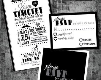 Printable Wedding Invitation and RSVP - Vintage Playbill