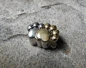 Two Tone Pawprint Charm, Pugster Charm, European Charm Bead, Pet Charm, Animal Charm, Cat Paw Charm, Dog Paw Charm