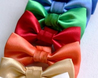 Wedding Dog Bow Tie, Wedding Cat Bowtie Satin Formal Black Red Green Blue Gold