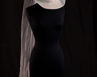 Cowboy Hat Wedding Veil, Bridal hat, Western Wedding Veil, Bachelorette Party Veil, Bridal Shower Veil, Rehearsal Dinner Veil ***SALE***