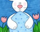 "ACEO Original Illustration - Artist Trading Card - Folk Art - Cute Whimsical - 2.5"" x 3.5"" - Baby Bunny's Big Blue Egg"