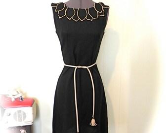 Vintage 50s 60s Dress Lil Black Dress with Petal Collar sz Sm or Med - on sale