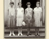 Spelling Bee, School Girls, Digital Image, Printable 1925 Vintage Photo, 8 x 8  Instant Download
