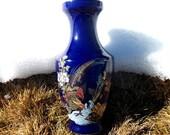 Cobalt Blue Vase Gold Trimmed Pheasant Floral & Bamboo Home Decor Gift Ideas
