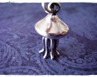 Large Silver Jellyfish Necklace - Sterling Silver Jellyfish Charm on a Delicate Sterling Silver Cable Chain or Charm Only