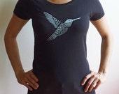 SALE - Organic Silver Hummingbird Womens T-Shirt Free Domestic Shipping