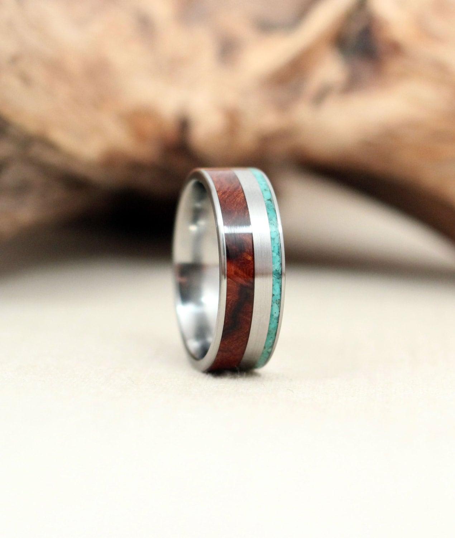 Arizona Desert Ironwood Burl Wooden Ring And Turquoise
