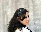 Beaded Headband, Black Sequin Beaded Rhinestone Fashion Headband for Women and Teens