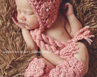 CROCHET HAT PATTERN: Crochet Bonnet with Leg Warmers, Crochet Flower, 0-3mo, 6-12mo & Toddler