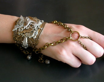 Gothic Slave Bracelet - Game of Thrones Jewelry - Steampunk Bracelet - Dragon Fantasy Ring Bracelet - Gothic Jewelry
