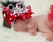 Red Minnie Mouse Big Bow,  Baby Bow, Newborn Bow, Toddler Bow, Hair Bow, Baby Girl Bow, Baby Headband, Toddler Headband