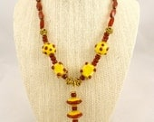 SALE - Red and Yellow Lampwork Glass Necklace