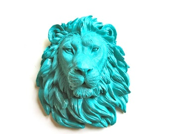 TEAL Faux Taxidermy Large Lion Head Wall Mount/Wall Hanging: Leonard the Lion in teal // office / kids room/ safari / nursery / blue green